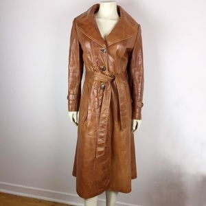 Vintage 70s brown leather trench coat belted